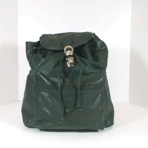 Vintage 80s Tandem Green Faux Leather Backpack